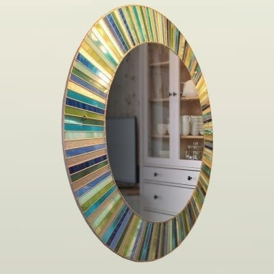 stained glass circle mirror