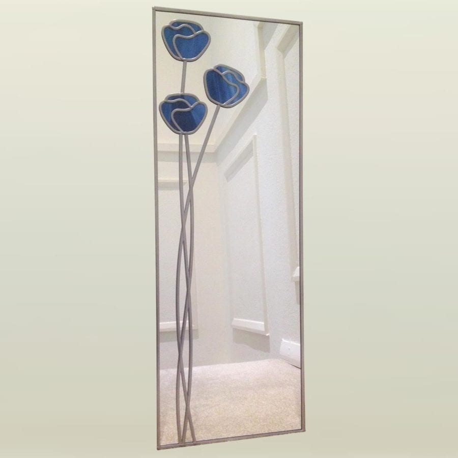 20x61cm poppy bluebell mirror