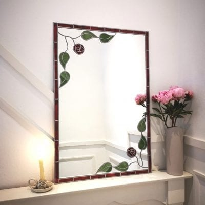 Deco Leaf and Rose Mirror