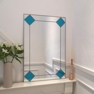Deco diamond mantle mirror