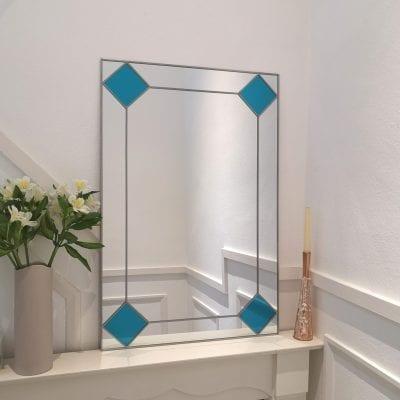 Deco diamond mantle mirror