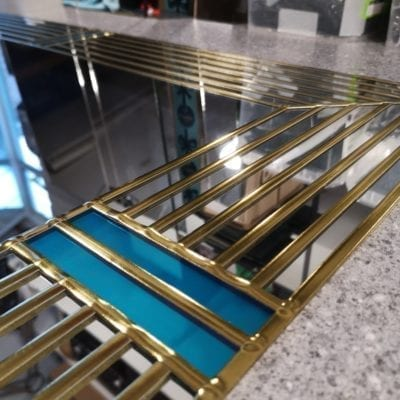 Art deco wall mirror teal