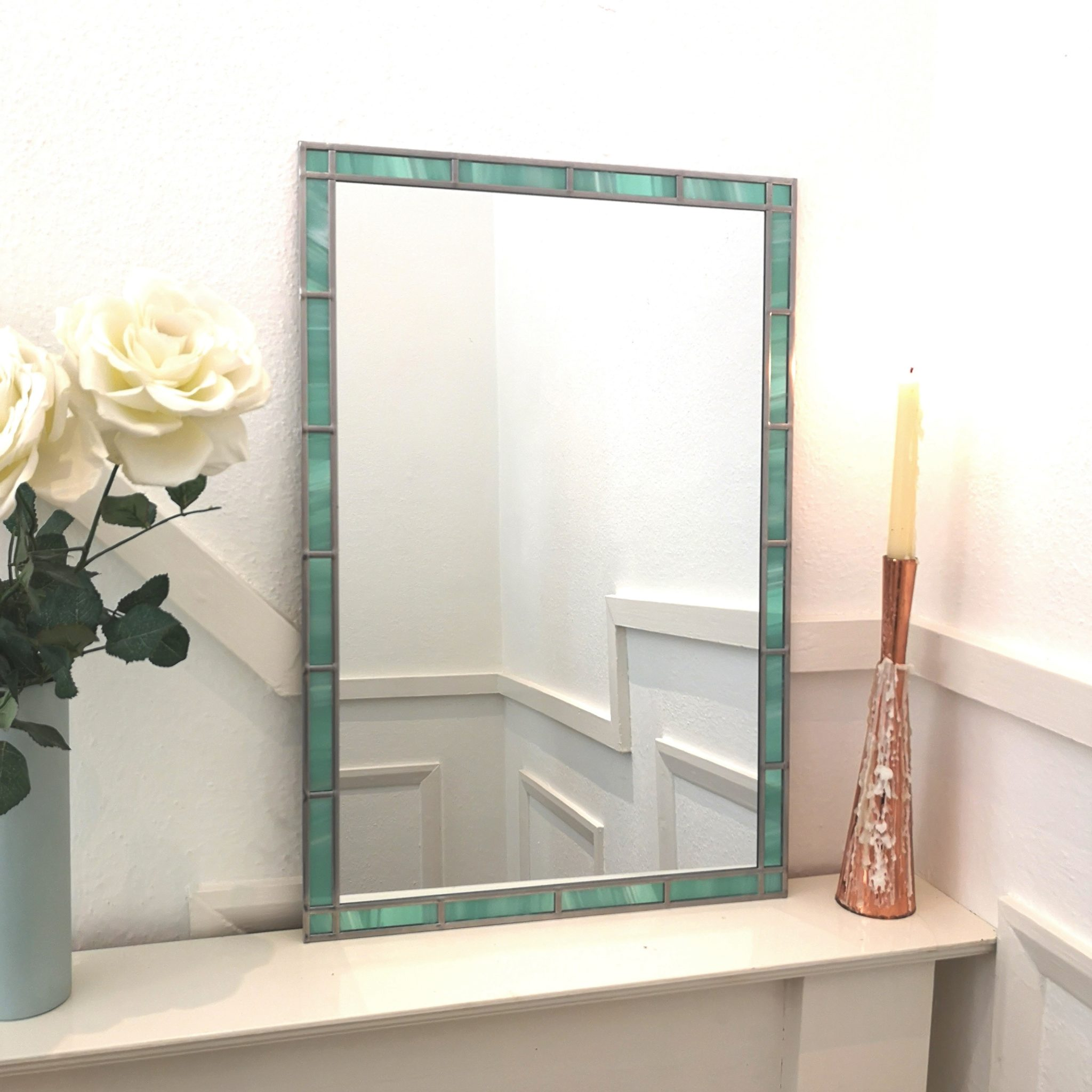 Stained Glass Border Mirror 45x61cm 18inx2ft Lawson Glassworks