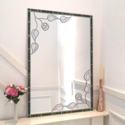 Deco Leaf and Rose Mirror