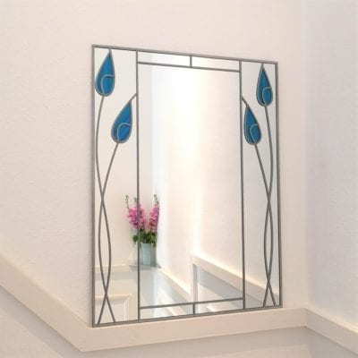 Twin Tulips Mantle Mirror