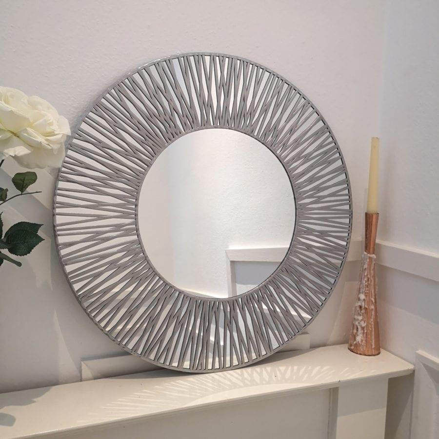 Lead Lines Circle Mirror