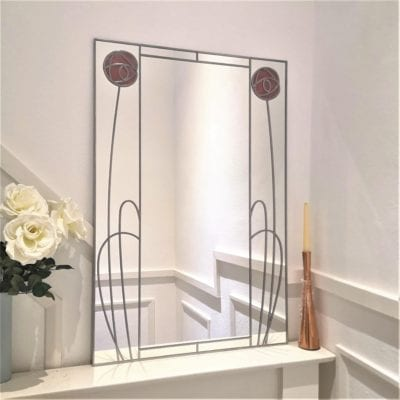 Nouveau Twin Rose Wall Mirror