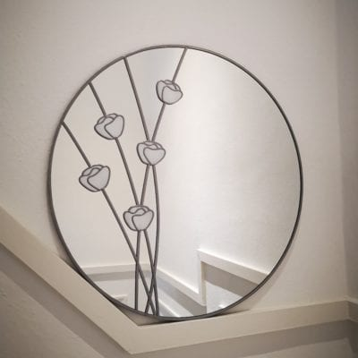 Round Mackintosh Poppy Mirror