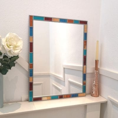Multicoloured border mirror 61x61cm, (2ftx2ft)