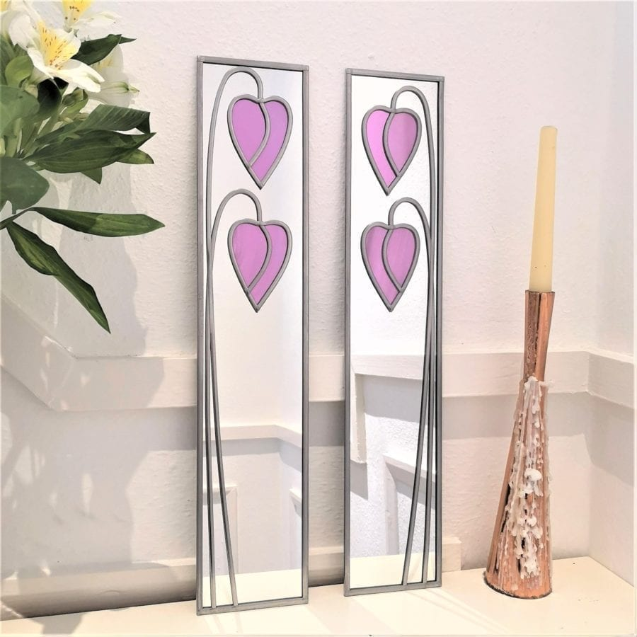 Dropped heart mirror matching pair