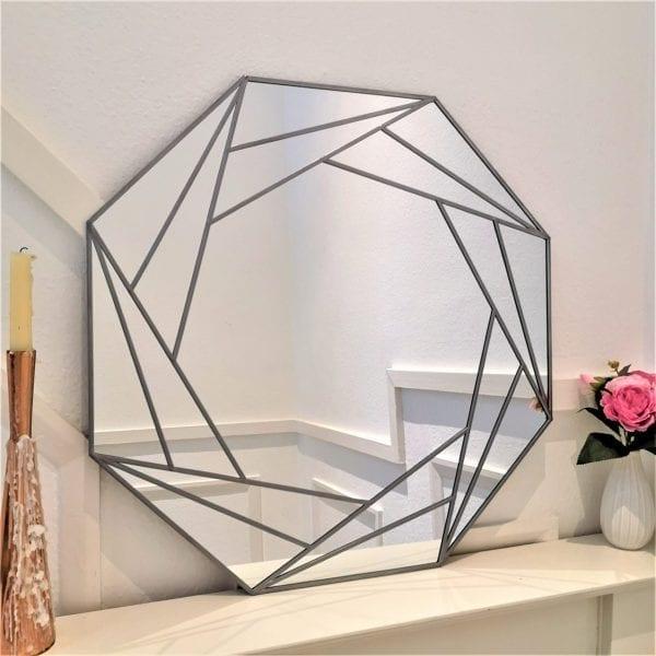 Deco Octagon Mirror natural lead